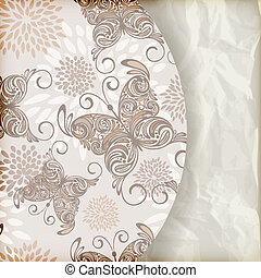 vector retro summer  background with vintage butterflies and floral pattern, place for your text, crumpled paper texture, gradient mesh