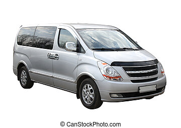 Small compact minivan separately on a white background