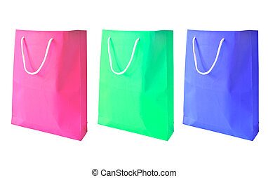 Three collection of  paper bag with handles isolated on white ba