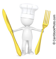 Master Chef. - 3D Little Human Character the Master Chef...