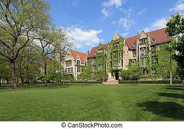 Attractive University Campus with ivy clad halls