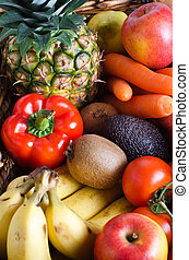 Fruit and Vegetable Selection - Overhead shot of a selection...