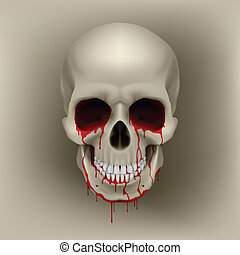 Bleeding Skull - Cool Bleeding Human Skull Illustration for...