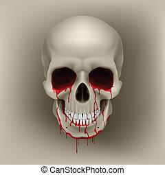 Bleeding Skull - Cool Bleeding Human Skull. Illustration for...