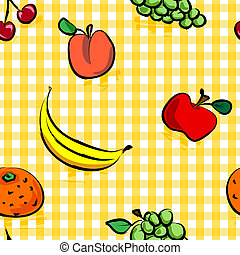 Seamless grungy fruits over yellow gingham pattern