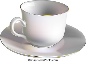 Empty porcelain cup - Vector illustration of an empty...