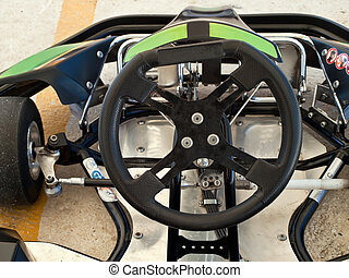 go kart - steering wheel of go kart