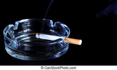 Smoldering Cigarette on the black background, Timelapse