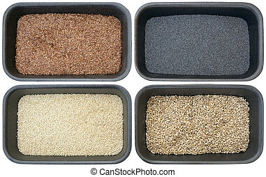 Bread Ingedients - Four Different Bread Ingredients, Sesame,...
