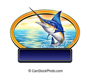 Fishing label - Marling jumping out of water in a label with...