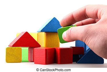 Wooden building blocks.