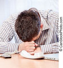 Worried young business man - Desperate young business man in...