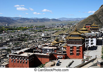 Historic lamasery in Shigatse,Tibet - Famous landmark of a...