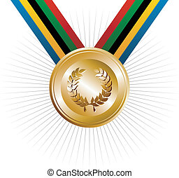 Olympics games gold medal with laurel wreath