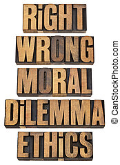 moral dilemma concept - right, wrong, moral dilemma, ethics...