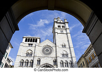 St Lawrence Cathedral seen through an arch