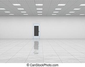 empty room with door and reflection floor