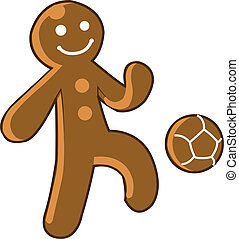 Gingerbread Kid Soccer - Gingerbread Kid Playing Soccer or...