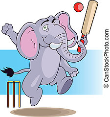 Cricket Elephant - Funny Elephant Cartoon Playing Cricket...