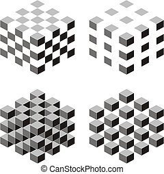 Cube abstract - A set of cubic shapes on white isolated...