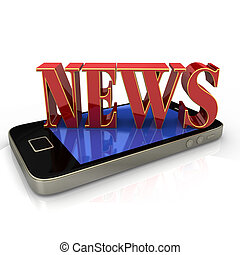 "News Smartphone - Text ""News"" in red and golden colors on..."
