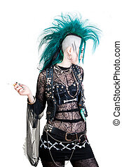 postpunk - green haired postpunk girl is smoking on white...