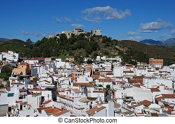 View of town, Monda, Spain. - General view of town, castle...