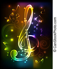 neon treble clef. vector illustration whith note