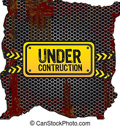 under construction signal on rusty metal background with...