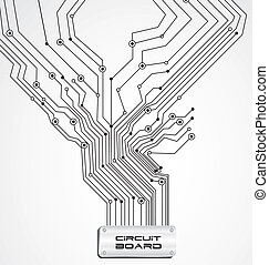 circuit board on white background, vector illustration