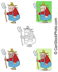 Lucky Farmer Man Carrying A Rake