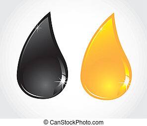 petroleum and oil droplets isolated sober white background