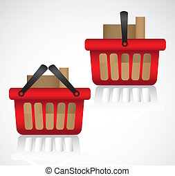 shopping baskets with boxes