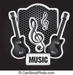 musical metal label with grid pattern, vector illustration