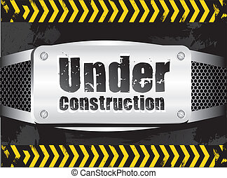 under construction signal on metal background with grid...