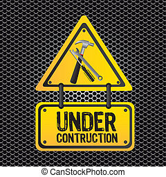 signal under construction, metal grid background, vector...