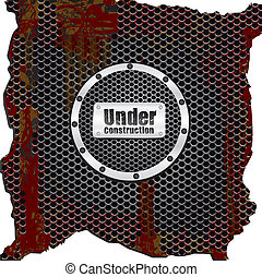 label on background grid pattern rusty