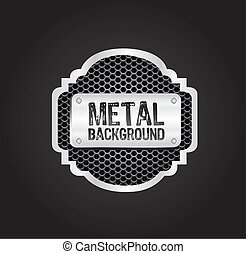 Metal label with grid pattern