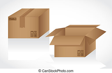 cardboard boxes opened and closed