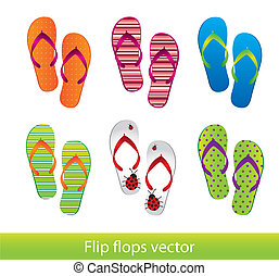 flip flops isolated over white background. vector...