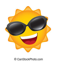 cartoon sun with sunglasses isolated over white background....