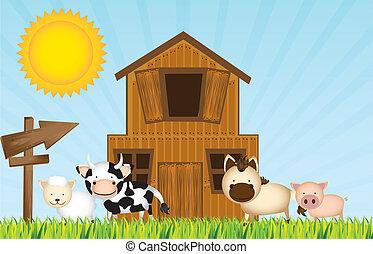 farm vector - farm with animals and barn over grass. vector...