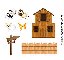 farm vector - barn and animals with wooden sign isolated...