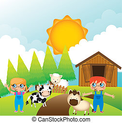 children with animals farm