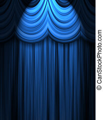 blue theatre curtain with spotlight