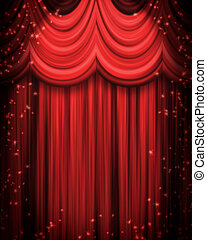 red theatre curtain with spotlight