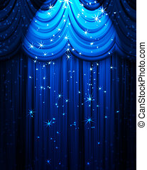 blue theatre curtain with spotlight and stars