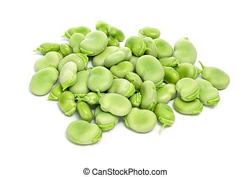 broad beans - a pile of broad beans on a white background