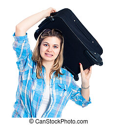 Nervous traveller woman with luggage