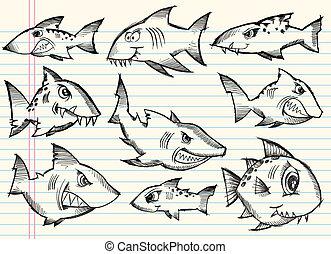 Sketch Doodle Sharks Vector Set